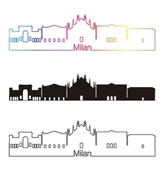 Milan skyline linear style with rainbow vector image