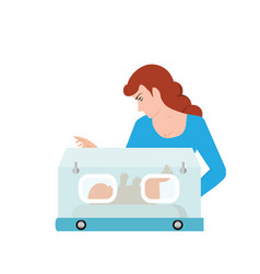 mom or nurse look at baby in incubator vector image
