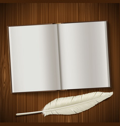 notepad and feather lie on a wooden table vector image