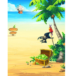Ocean coast with a chest parrot palm tree ship vector