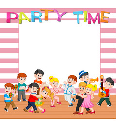 paper template with people having party vector image