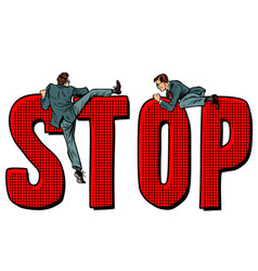 people climb on word stop vector image