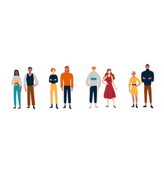 People stand in pairs friends partners vector
