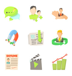 Perfection company icons set cartoon style vector