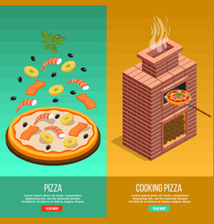pizza baking banner set vector image