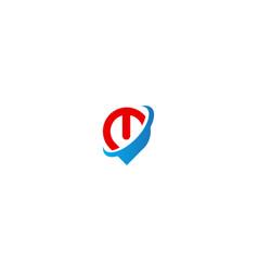 power button pin mark technology logo vector image
