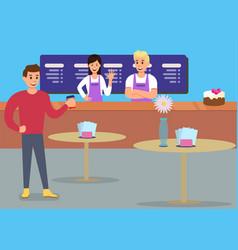 Professional cafe service glad customer ad banner vector