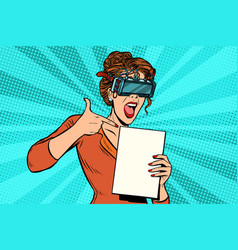 Promoter woman in glasses virtual reality vector