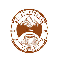 retro vintage badge stamp coffee forest logo vector image