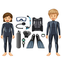 Scuba divers in wetsuit and different equipments vector
