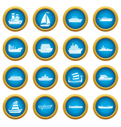 Sea transport icons blue circle set vector