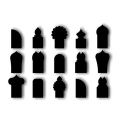 set arabic arch window and doors black icon vector image
