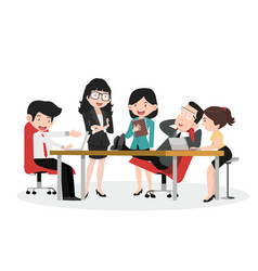 set business characters working in office vector image