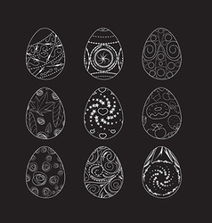 Set of easter eggs doodle decorated with ornament vector