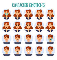 set of isolated cartoon people head with emotions vector image