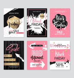 set sale banners with grunge elements brush vector image