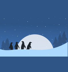 silhouette penguin with moon landscape vector image