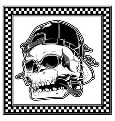 Skull wearing hat smoking cigar vector
