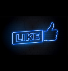 social media like sign in neon style vector image