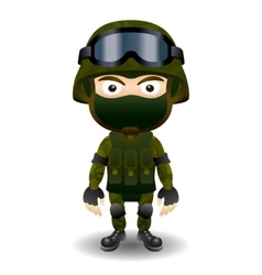 Soldier military character combat black mask vector image
