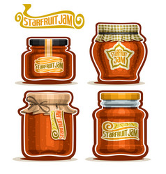 Starfruit jam in jars vector