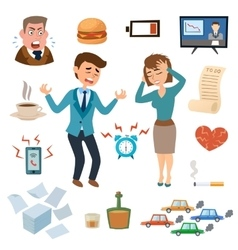 Stress people pressure workplace tired unhappy vector image