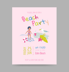Summer beach card with kids and sea creatures vector