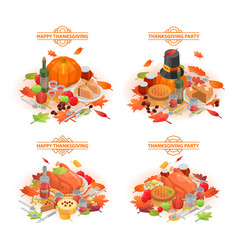 Thanksgiving day banner set isometric style vector