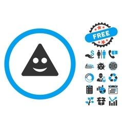 Triangle Sign Smile Flat Icon with Bonus vector image