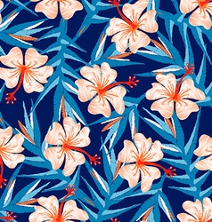 Tropical ginger embroidery floral design seamless vector