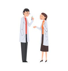 Two scientist characters in lab coat doing vector