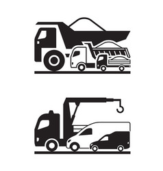 various construction trucks vector image
