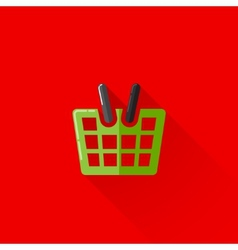 Vintage of a shopping basket in flat style with vector
