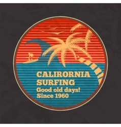 Vintage poster - california surfing good vector