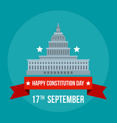 White house constitution day background flat vector