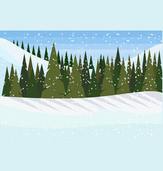 winter snowy mountain hill green fir tree forest vector image