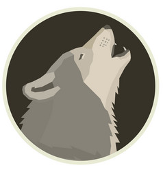 Wolf forest wildlife animals round frame vector
