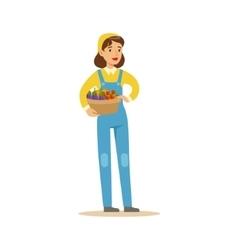 Woman Wirh Basket Of Fresh Vegetables Farmer vector