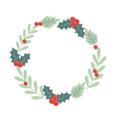 wreath holly berry celebration merry christmas vector image