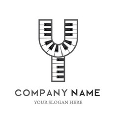 y letter logo design piano keyboard logo vector image