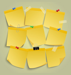 yellow paper notes note memo stickers remind vector image