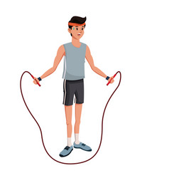 Young man training jump rope sweating vector