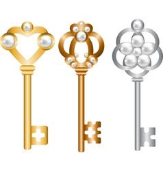 antique metal skeleton keys set vector image vector image
