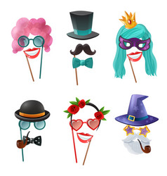 set of carnival accessories vector image vector image