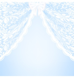 Blue bacground with lace curtains and bow vector image