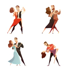 Dance Pair Retro Cartoon Set vector image