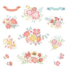 Floral vintage set vector image