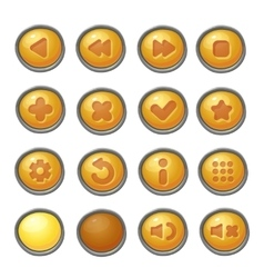Set of red buttons game icons vector image vector image