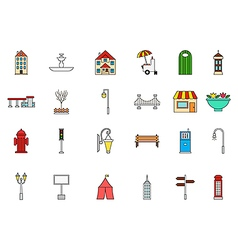City elements colorful icons set vector image vector image