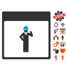 engineer calendar page icon with dating bonus vector image